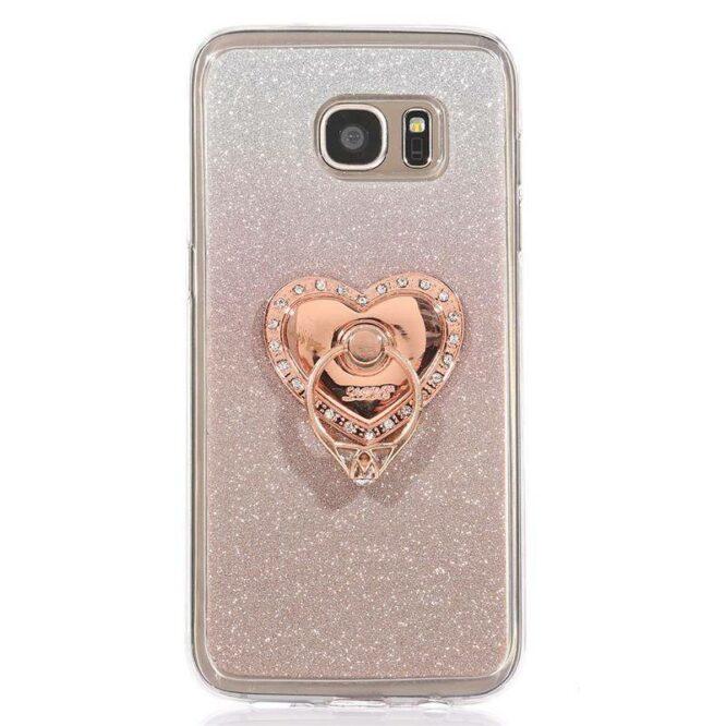 růžový prsten LOVE bílé kameny