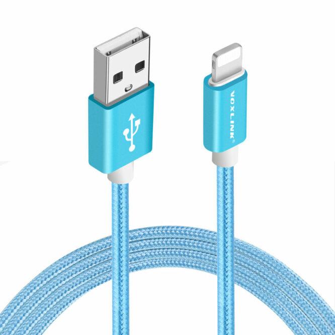 USB kabel iphone modrý