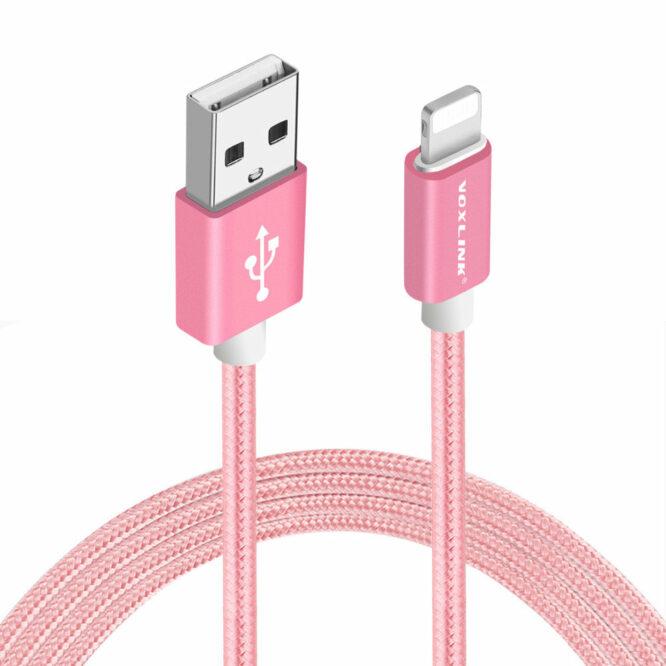 USB kabel iphone růžový