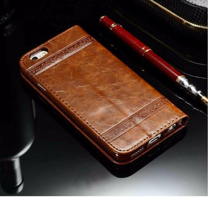 Kožené pouzdro na iPhone 7 hnědé 2