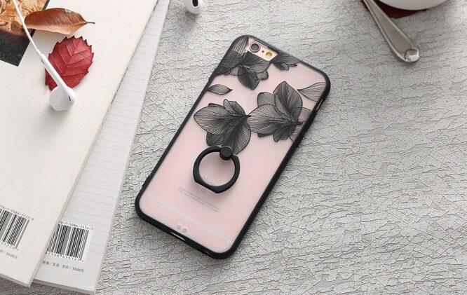 zadní kryt iphone čená květinové listy