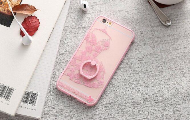 zadní kryt iphone růžové šaty