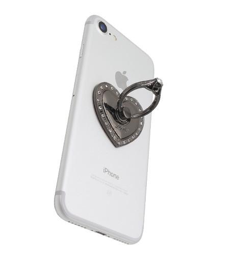 ozdobný prsten na mobil černý LOVE na telefonu