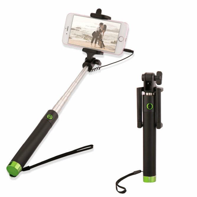 selfie tyč zelená
