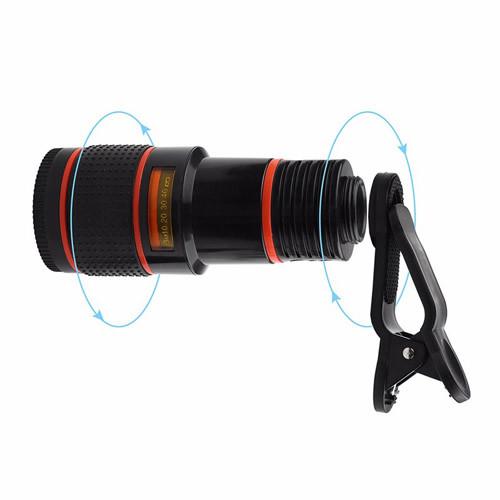 teleskopický objektiv na mobil12x zoom - montáž