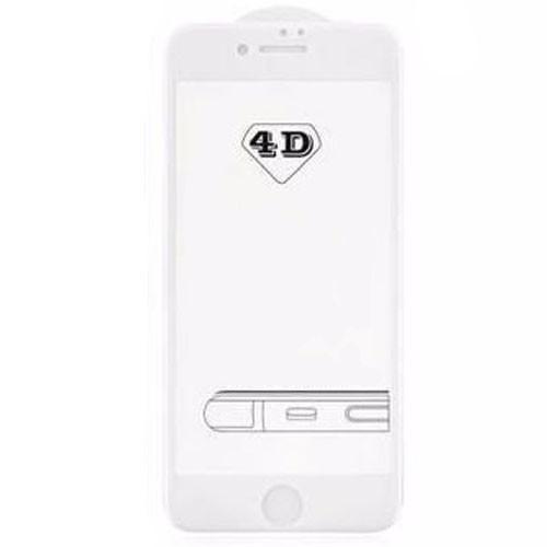 4D Tvrzené sklo na iPhone 8 s rámečkem tvrdost 9H bílá