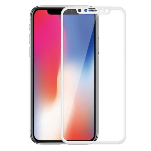 4D Tvrzené sklo na iPhone X s rámečkem tvrdost 9H bílá
