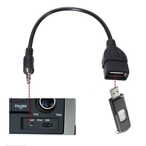Redukce AUX Audio Jack 3,5_USB(A) černá - použití