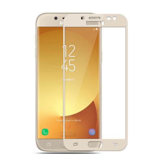 Tvrzené sklo na Samsung Galaxy J5 - 2017 s rámečkem zlatá barva