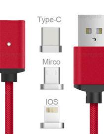 USB kabel typ C iOS + Android Micro USB 3v1 - červená