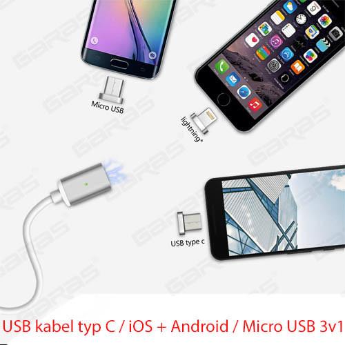USB kabel typ C iOS + Android Micro USB 3v1 - použití