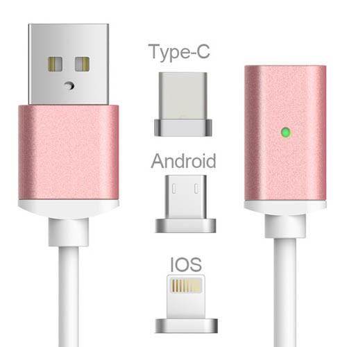 USB kabel typ C iOS + Android Micro USB 3v1 - růžové zlato