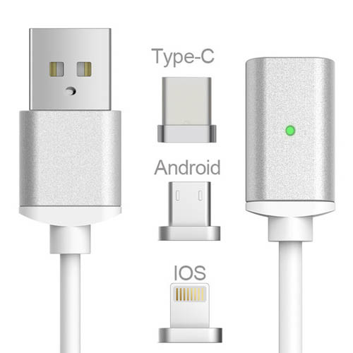 USB kabel typ C / iOS + Android / Micro USB 3v1