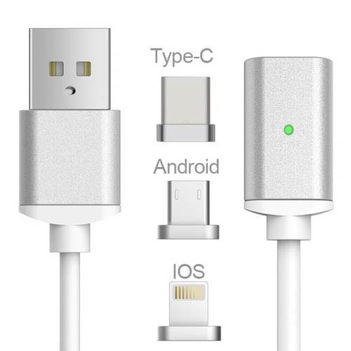 USB kabel typ C iOS + Android Micro USB 3v1 - stříbrná