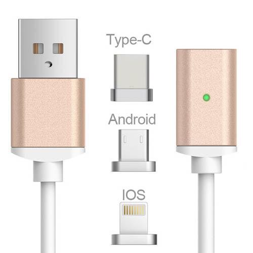 USB kabel typ C iOS + Android Micro USB 3v1 - zlatá