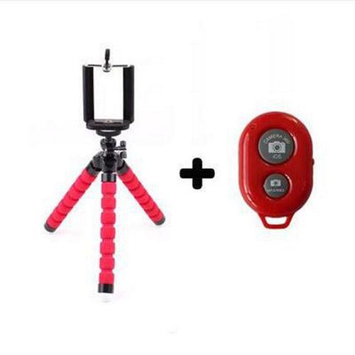Univerzální stativ na mobil s dálkovým ovladačem - červený stativ s ovladačem