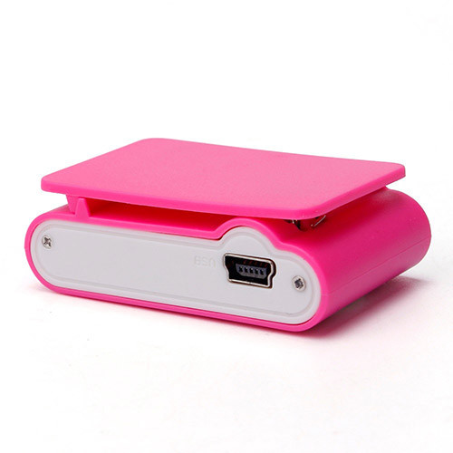 Mini MP3 přehrávač s displejem - růžováspohní pohled