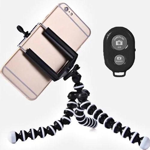 Flexibilní stativ na mobil - černý s ovladačem