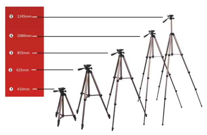 Stativ na mobil 124cm – WT 3130 – velikosti