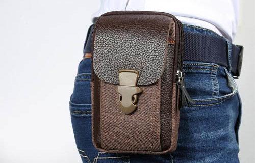 Pouzdro na opasek Zipper do 6 palcu hneda