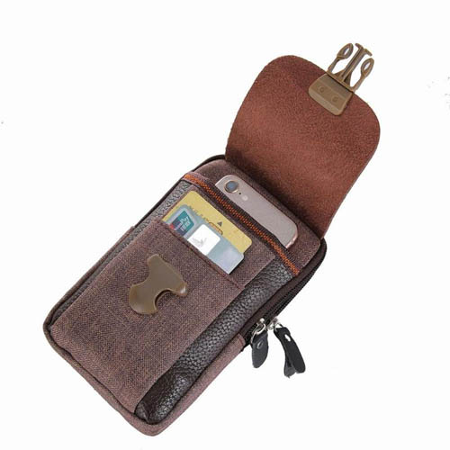 Pouzdro na opasek Zipper do 6 palcu hneda otevrena